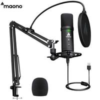 MAONO-Conjunto de micrófono PM401 USB, 192KHz/24 bits, profesional, condensador cardioide, Podcast, con botón de silencio y conector de Audio