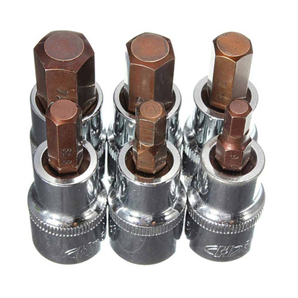 6PCS 1/2 12mm High Hardness Hexagonal Steel Alloy Socket Wrench For Cars Computers Repairing Special Tools