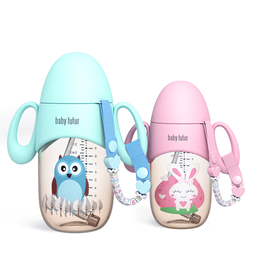 300ML Baby Feeding Bottle Water Bottle With Straw Newborn Safety PPSU Feeder Silicone Feeding Supplies For Boy And Girl
