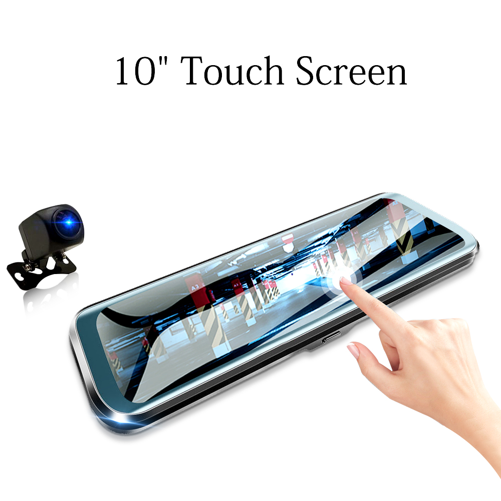 HGDO Car DVR Rearview-Mirror Video-Recorder Car-Camera Touch-Screen Dual-Lens 10inch