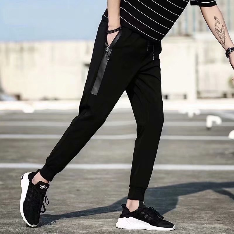 2018 Spring Men Harem Pants Ankle Banded Pants Closing Foot Casual Pants Skinny Athletic Pants Spring And Autumn Loose-Fit Knit
