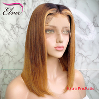 Elva Hair Ombre 13x6 Lace Front Human Hair Wigs Straight 3T Blonde Highlights Color Extra Pro.Ratio 150% Remy Short Bob Wig