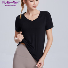Loose Yoga Shirts Women Running T Shirt V-Neck Short Sleeves T-shirts Woman Thin Quick Dry Sport Tops Gym Fitness Workout Blouse