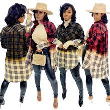 Gradientowy nadruk w szkocką kratę Casual długa bluzka koszule damskie zapinane na guziki z długim rękawem otwórz ścieg Streetwear Plus rozmiar swetry typu oversize
