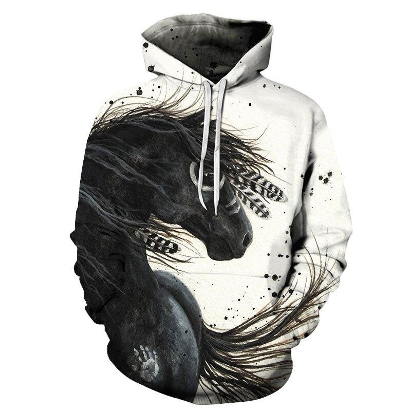 Hot Sale Colorful Horse Printed Sweatshirt Men Women 3D Pullover For Male Hoodies Autumn Long Sleeve Man Jacket