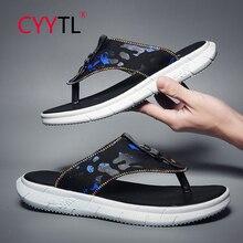 CYYTL Flip Flops Black Fashion Summer Leather Shoes Men Slip on Casual Flip Flops Fashion Leather Sandals Summer Breathable