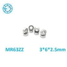 10 шт./лот MR63ZZ миниатюрные шариковые подшипники 3*6*2,5 мм маленький двойной экранированный Миниатюрный металлический стальной подшипник мини стальной роликовый подшипник