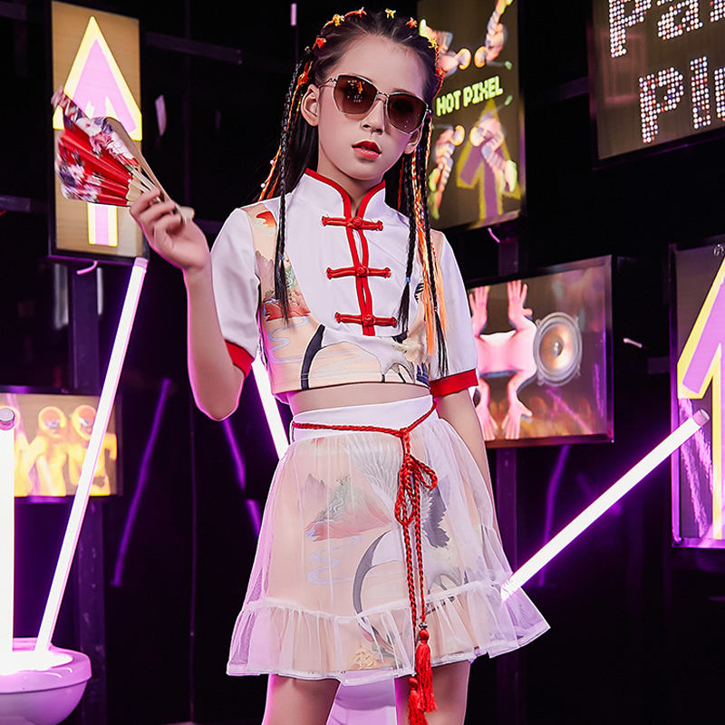 Children Street Dance Performance Dresses Chinese Style White Catwalk Show Stage Outfit Girls Jazz Wear Kids HipHop Suit DQL2670