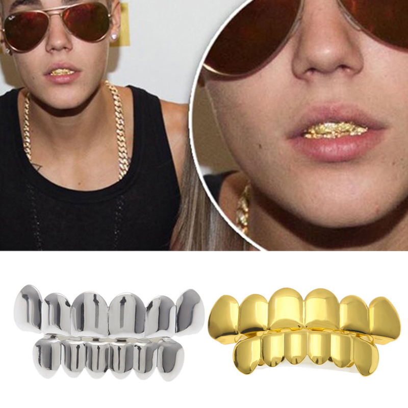 1 Set Upper & Lower Europe Plated Gold Silver Tooth Braces Hip Hop Cool Teeth Braces Simulation Brace Teeth Protector Halloween