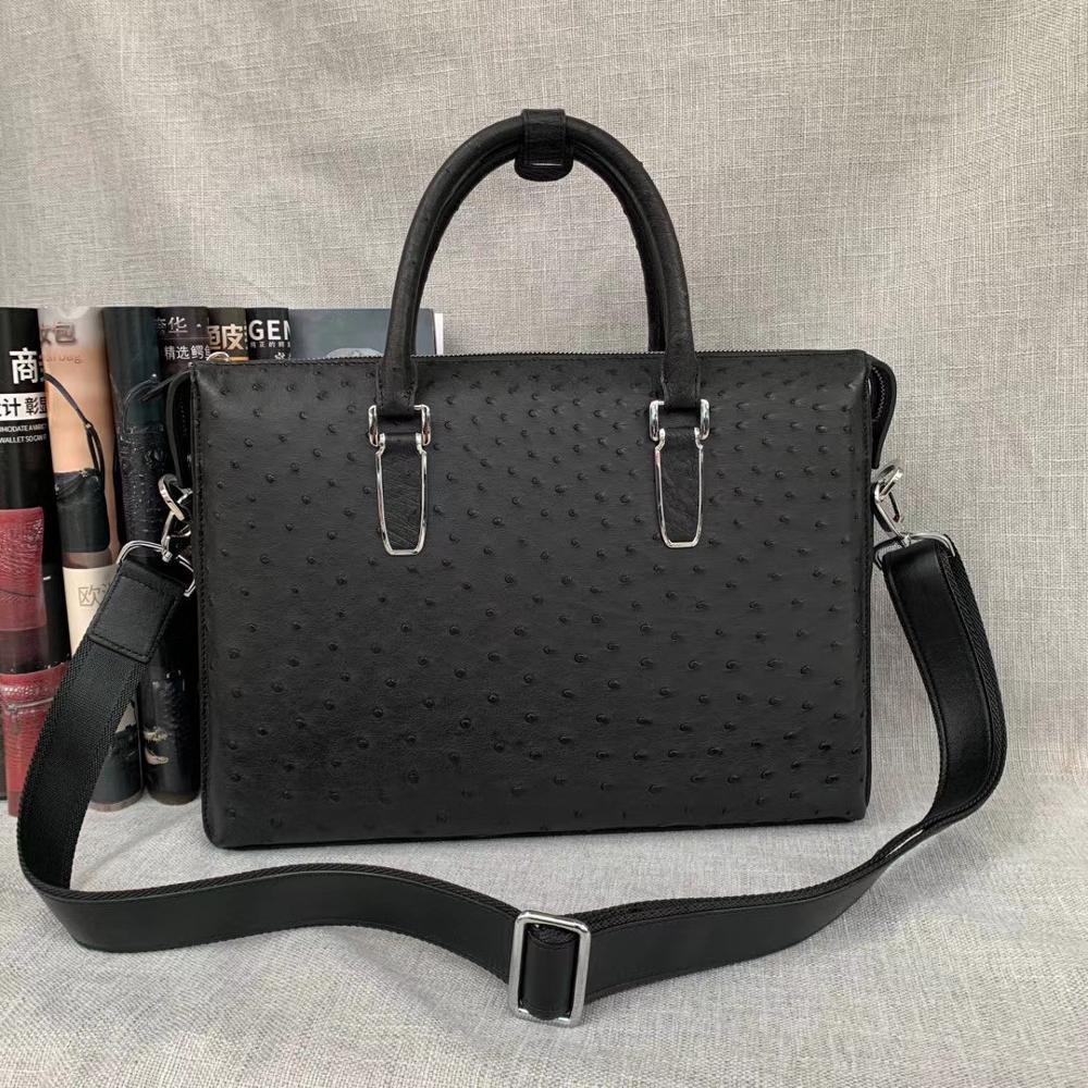 Authentic Exotic Ostrich Skin Men's Large Business Briefcase Bag Black Laptop Case Genuine Leather Male Working Purse Handbag