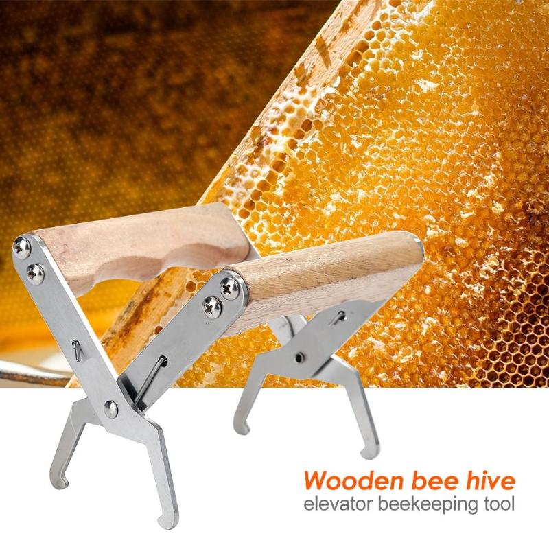 Stainless Steel Bee Hive Frame Holder Wooden Handle Practical Beekeeping Safety Equipment Garden Breeding Accessories