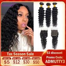 Tissage en lot naturel Deep Wave Non Remy avec Closure-Admutty, mèches de cheveux naturels, 4x4, Extensions de cheveux