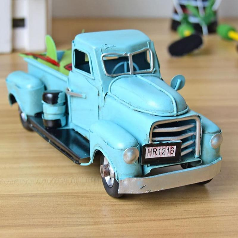 Vintage Handmade Tin Car Model Travel Metal Truck Model Pickup Car Crafts Toys <font><b>Diecast</b></font> Model Car Toy For Children Birthday Gift image