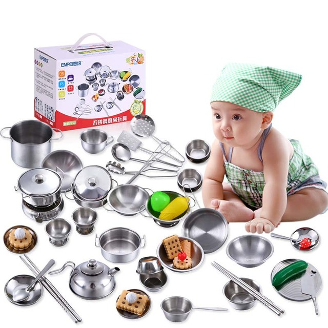 40PCS/Set Pretend Play Cooking Set Toy Stainless Steel Kitchen Toys Kids Stainless Steel Cooking Tools Educational Learning Toys 1