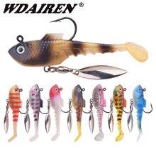 Wdairen marca isca macia com rotação colher isca de pesca 70mm 11.5g shad jig wobblers artificial iscas de silicone baixo carpa leurre