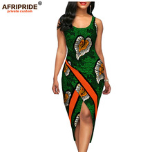 2018 summer sexy dress for women AFRIPRIDE customized africa print sleeveless o-neck mid-calf length cotton A1825057