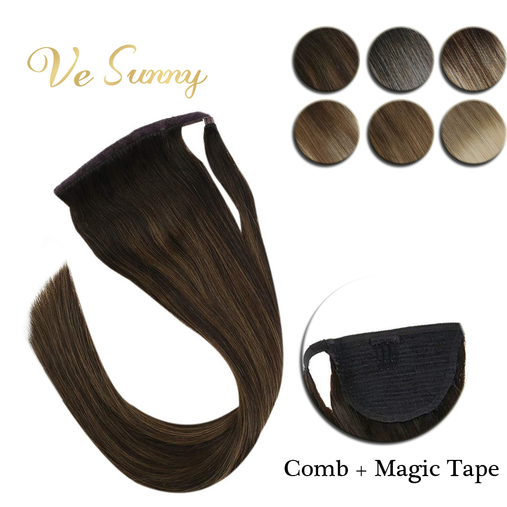VeSunny Ponytail Extensions Wrap Around Magic Tape With Comb 100% Human Hair Balagaye Color Ombre Highlights 14inch - 22inch