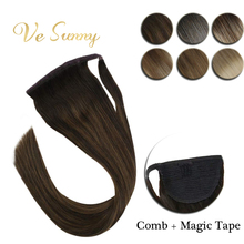 VeSunny Ponytail Extensions Wrap Around Magic Tape with Comb 100% Human Hair Balagaye Color Ombre Highlights 14inch – 22inch