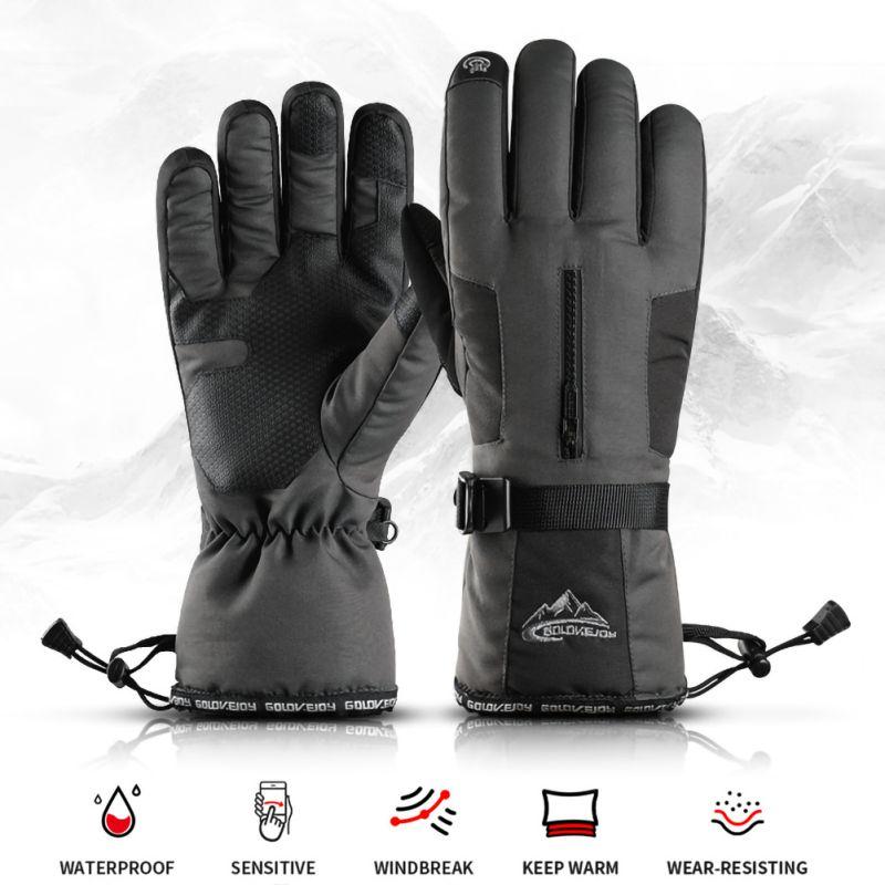 Unisex Outdoor Ski Gloves Winter Four-layer Waterproof Pocket Touch Screen Anti-slip Velvet Warm Gloves For Sport Cycling