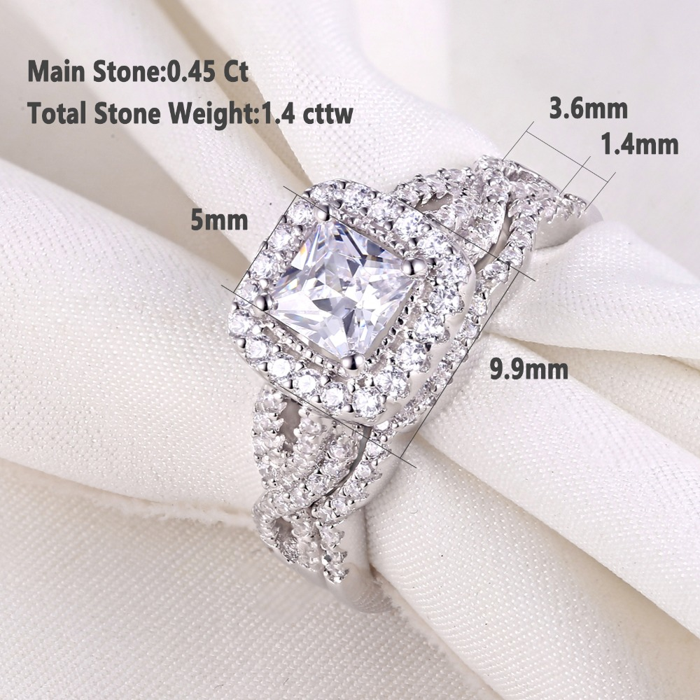 Women's 2 Pcs 925 Sterling Silver Engagement/Wedding Ring Princess Cut White Cubic Zirconia