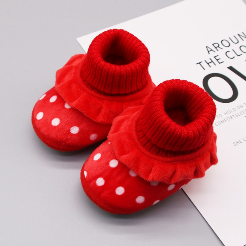 Autumn Newborn Baby Shoes Baby Girl Boy Shoes Polka Dot Knitting Boots Casual Sneakers Non-slip Soft Soled Fsahion Shoes