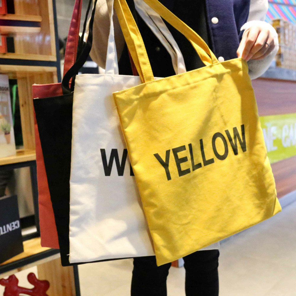 Foldable Reusable Canvas Eco Handbag Storage Travel Shopping Tote Grocery Bags image