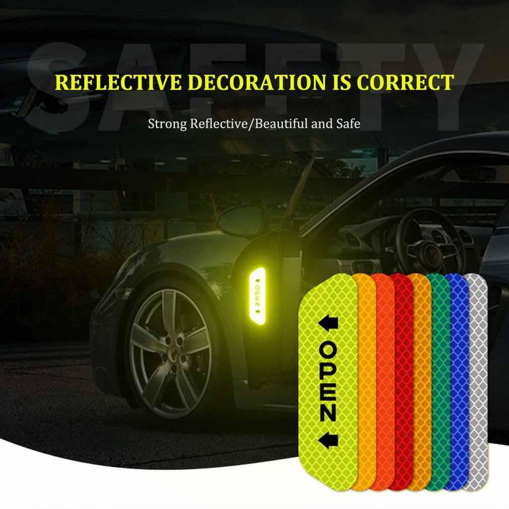 Calcomanías reflectantes de seguridad para abrir la puerta, pegatinas de advertencia, película reflectante abierta para puerta de coche, tira anticolisión