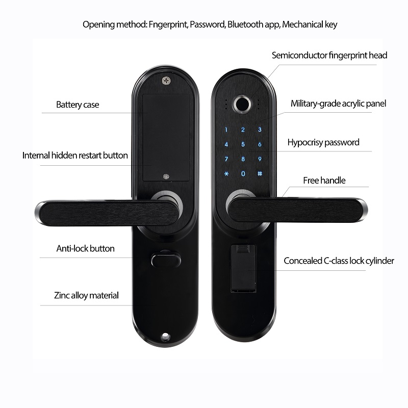 LACHCO Biometrisk elektronisk dørlås Smart fingeravtrykk, kode, - Sikkerhet og beskyttelse - Bilde 4