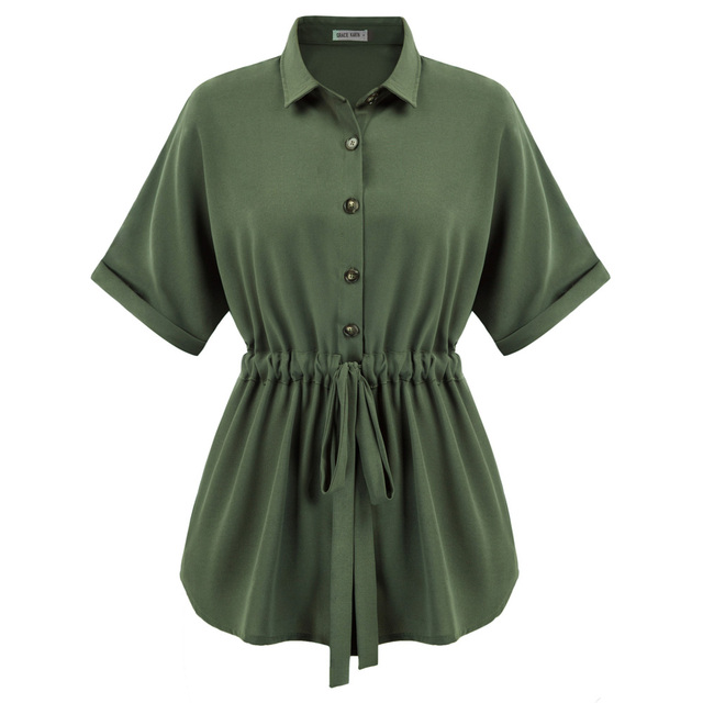 Summer Women Blouse Fashion Drawstring Waist Shirt Loose Fit Short Batwing Sleeve Lapel Collar Solid Color Comfortable Tops New 1