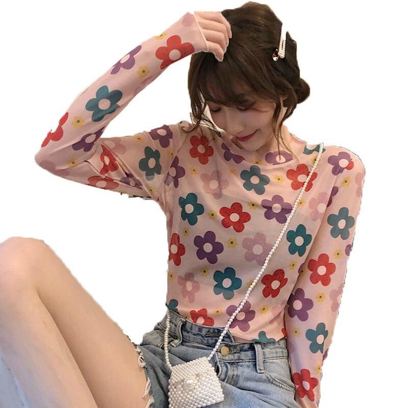 Summer Kawaii Mesh Long Sleeve See Through Tshirt Floral Print Sexy Transparent Beach Woman Femininas Tshirt XXL