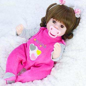 40cm soft silicone vinyl rebron baby doll non toxic safe toy handmade lifelike newborn baby toy doll for children girls playmate 42cm Curly Hair Style Reborn Baby Doll Soft Vinly Silicone Lifelike Girl Playmate Doll Toy For Girl