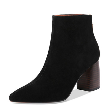 Nature Suede Ankle Boots Women Autumn Winter High Heels G230 Woman Round Heel Shoes Black Nude Green Yellow Pointed Toe Boots enmayer women ankle boots rhinestone pointed toe high heels short boots flock winter boots thin heel zipper shoes woman cr1210