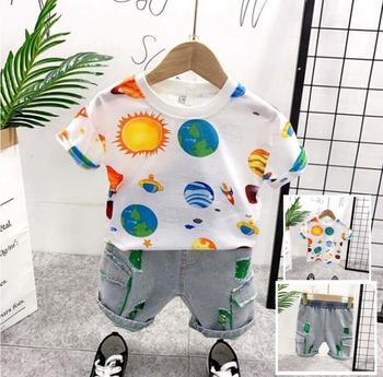 Ropa de niños, Conjuntos Casuales para niños pequeños, conjunto de ropa de verano para bebés, conjunto de estampado de planeta universo para niños, Camiseta deportiva + trajes cortos 2-7Y