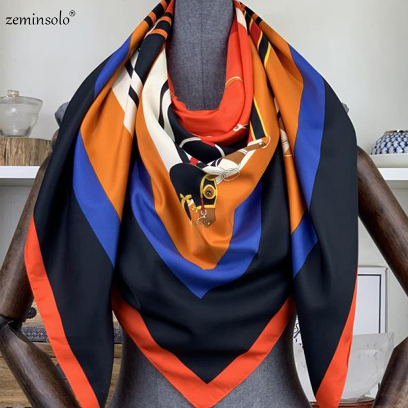 100% Twill Silk Scarf Luxury Brand Chain Neckerchief Headscarf Square Shawls Scarves Women Lady Foulard Female Bandana 130*130cm