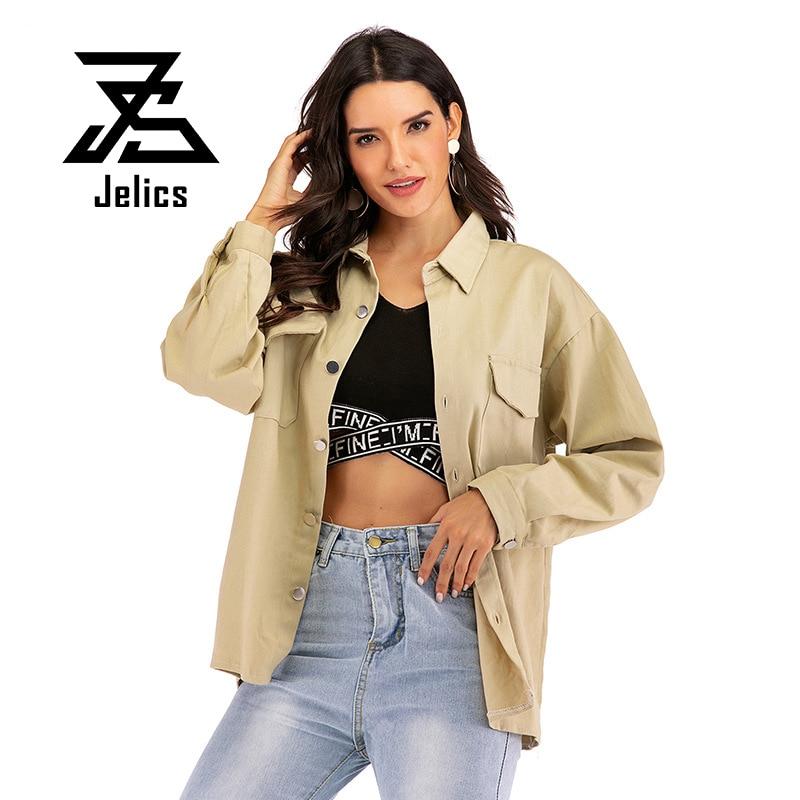 Jelics Khaki Spring Autumn Streetwear Casual   Basic     Jacket   Coat Women Clothes Turn-down Collar Slim Back Letter Embroidery Coat