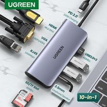 Ugreen hub usb c hub hdmi adaptador 10 em 1 usb c para usb 3.0 doca para macbook pro acessórios USB-C tipo c 3.1 divisor usb c hub