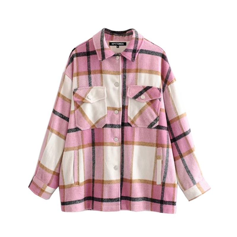 H615844a59cdc4206982769730ffe0167p Vintage Stylish Pockets Oversized Plaid Jacket Coat Women 2019 Fashion Lapel Collar Long Sleeve Loose Outerwear Chic Tops