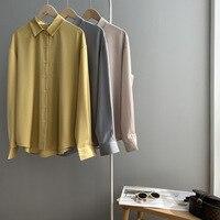 Mooirue-camisas de satén para mujer, blusa informal de manga larga, color amarillo, azul y Beige, para primavera