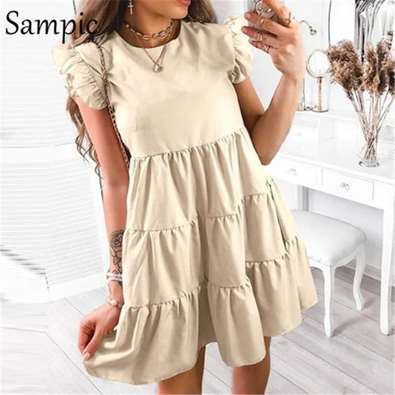 Sampic Sexy Frauen Mode Bohemian Lose Sommer Kurzarm Mini Kleid Rüschen Khaki Rosa Casual Party Club Kleid 2020