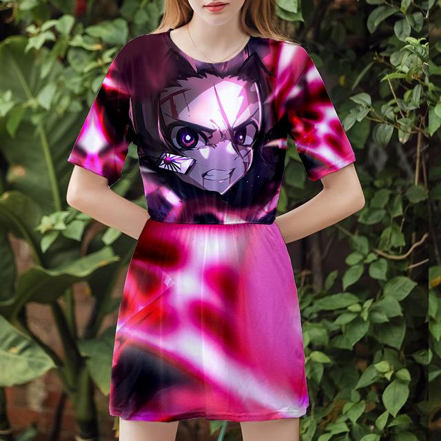Demon Slayer 3D Print Short Sleeve dress