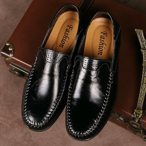 Image 3 - Genuine Leather Men Casual Shoes  2019 Mens Loafers Moccasins Breathable Slip on Black Driving Shoes Plus Size 38 47 B1374