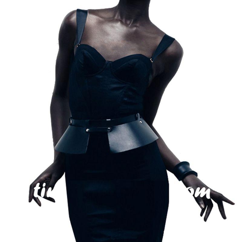 Women Girls Punk Faux Leather Corset Skirt Waist Belt Adjustable Peplum Dress