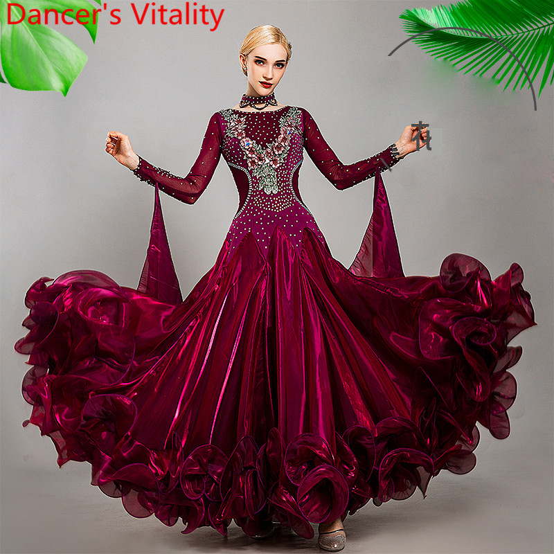 New Modern Dance Performance Costume Diamond Embroidered Diamond Big Hem Dress Ballroom Waltz Jazz Dancing Racing Stage Outfits