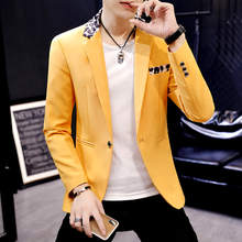 Casual Men White Blazer Mens Blazers Jacket One Button Slim
