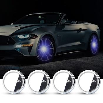 For Mustang 60mm 4X Hub Light Car Wheel Caps Light Center Cover Lighting Cap Floating Illumination LED bulb auto car styling