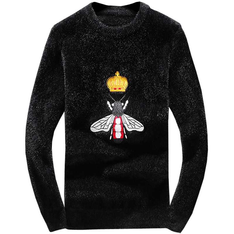 New 2019 Men Luxury Winter Hot Bee Crown Embroidered Casual Sweaters Pullover Asian Plug Size High Quality Drake #N41