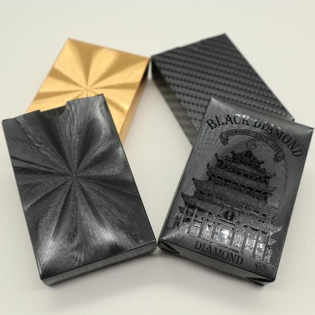 24K Gold Playing Quality Durable Plastic Cards Waterproof Golden Poker Black Collection  Diamond   Gift Standard 6