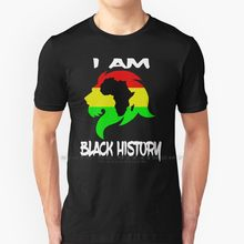 Eu sou preto história mês africano-americano leão t camisa 100% algodão puro preto história mês luther king jr dia malcom x preto