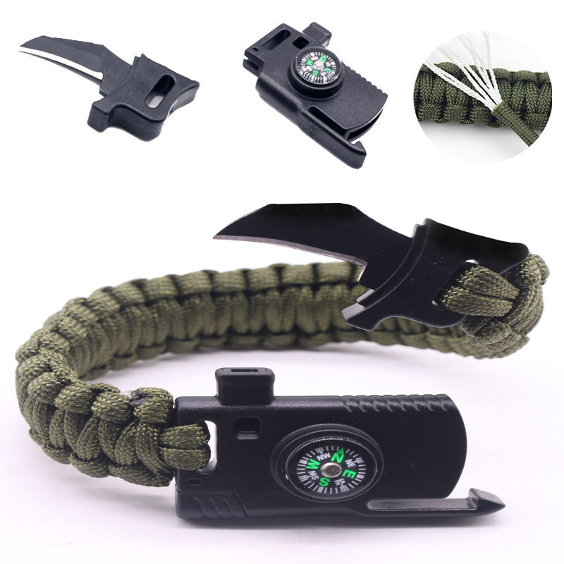 Bracelet tressé hommes multi-fonction Paracord Bracelet de survie en plein air Camping sauvetage d'urgence corde bracelets pour femme