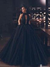 Preto sem costas tule vestido de baile longo formal baile formatura vestidos de gala inchado vestidos de baile 2020